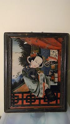 Antique Vintage Chinese Reverse Painting On Glass