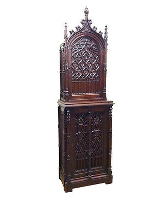 Antique French Gothic Cabinet Beautiful Model Tall Spires Great Carving19th Ctry
