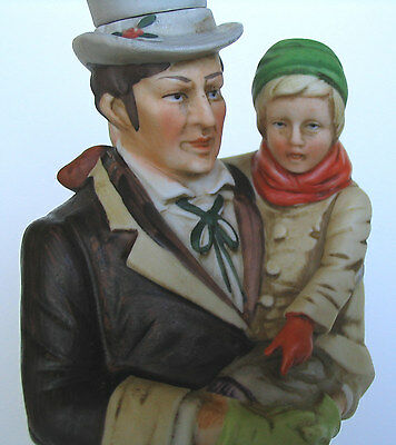 1977 Large Bob Cratchit & Tiny Tim Dickens Christmas Carol Ski Country Decanter
