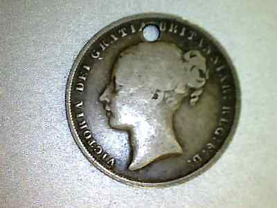 Silver 18X8 Queen Victoria  - One Shilling coin HOLED