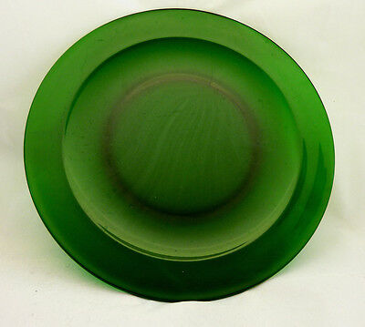 4 LARGE * Anchor Hocking Dark Green Clear Glass * Charger Plates * 11-3/4""