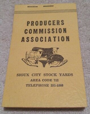 Vintage Sioux City Stock Yards Producers Commission Association pocket notebook