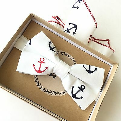 New Boys BowTie Set Pocket Sq. Boats Blue Anchor Baby Toddler Child Kids USA