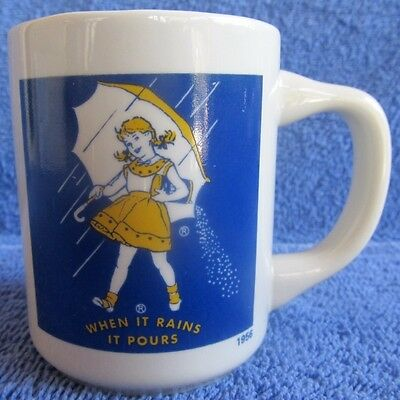 Vintage Advertising MORTON SALT GIRL Ceramic Coffee Mug 1956 Logo WHEN IT RAINS
