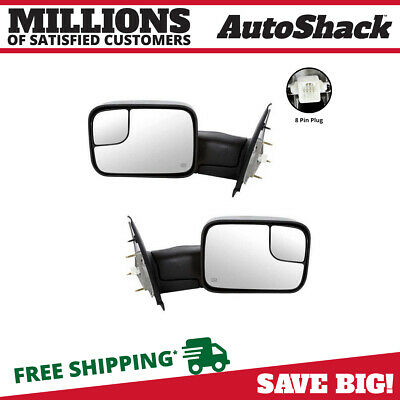 Pair (2) Power Heated Power Folding Side View Mirror Fits 02-2009 Dodge Ram 1500