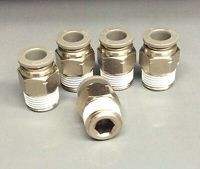 "(5) 3/8"" X 1/4"" NPT NICKEL PLATED Brass Push Connect Fitting Male Straight"