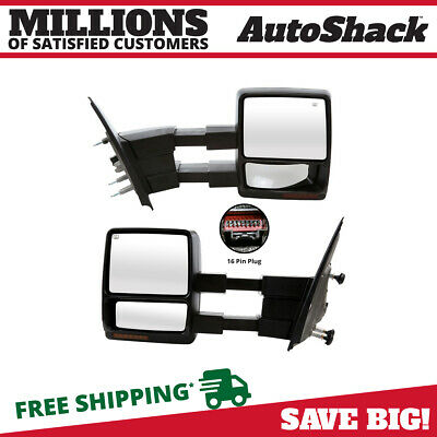 Pair (2) Power Heated Folding Extendable Signal Side Mirror For 07-14 Ford F-150