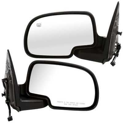 Pair (2) Heated Power Chrome Side Mirrors fits GMC Sierra Chevy Silverado Pickup