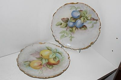 "2 Antique 1860's Hand Painted 8.5"" Porcelain Cabinet Plates-Signed"