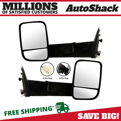 Pair (2) Power Heated Folding Extendable Signal Side Mirror Fits 11-12 Ram 1500