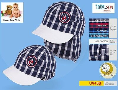 100% Cotton boys hat with UV +50 SUN PROTECTION Spring - Summer BABY BOY