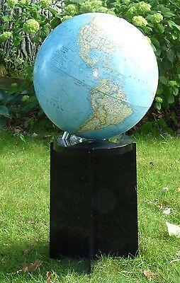 "Vintage 1976 National Geographic 16"" World Globe w/ Black Lucite Stand 34"" Tall"