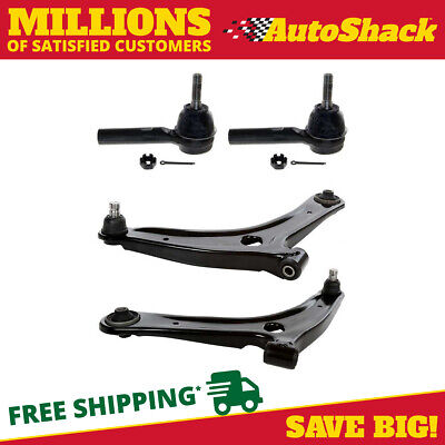 2 Front Outer Tie Rods & 2 Front Lower Controls Arms w/Ball Joint for Dodge Jeep