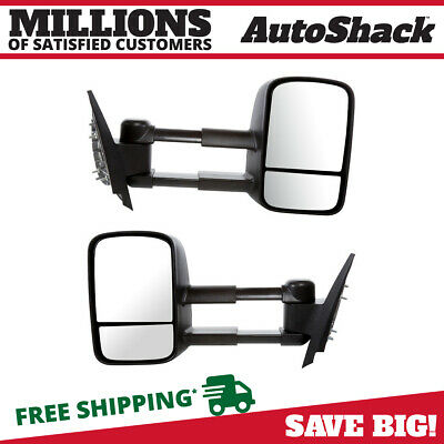 Manual Telescoping Towing Mirror Pair fits 07-14 Chevy Silverado GMC Sierra