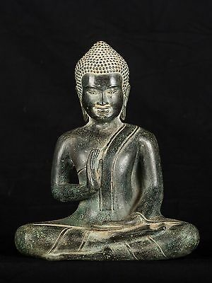 "Southeast Asia 19th Century Antique Thai Teaching Buddha - 9"" Tall"