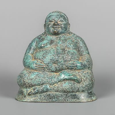 "Antique Chinese Style Bronze 7"" Happy, Fat or Laughing Buddha Statue"