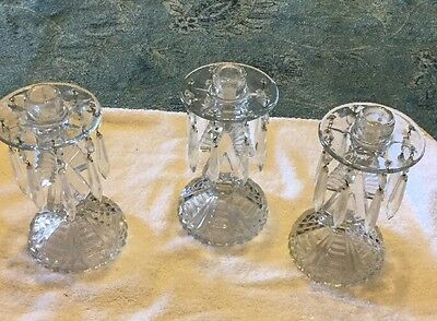 3 Beautiful  Vintage Crystal Glass Candlesticks With Prisms