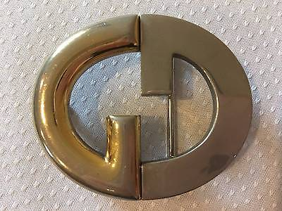 Vintage Rare GUCCI Interlocking GG Gold Tone Belt Buckle Italy