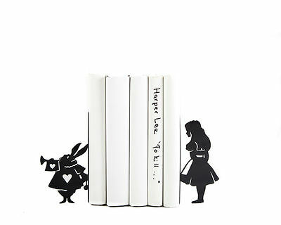 Atelier Article - Gift Steel bookends - Alice and the White Rabbit (Black)