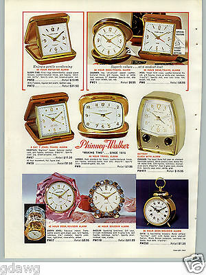 1965 PAPER AD Phinney Walker Travel Alarm Clock Rhinestone Crown Jewel COLOR