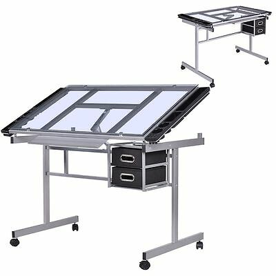 Student Drawing Desk Glass Office Portable Studio Drafting Station Craft Table