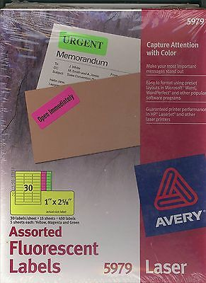 Avery Laser Labels, Rectangle, Assorted Fluorescent Colors, 1 X 2-5/8   5979