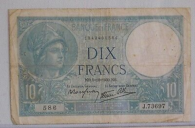France  10 Francs  Cat.# 84 1939 Issue