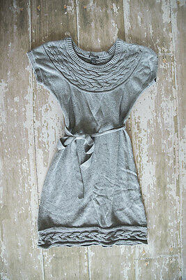 H&M MAMA Maternity Short Sleeve Belted Gray Sweater Dress Size S
