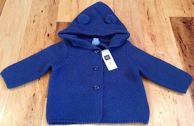 Baby Gap Boys 6-12 Months Navy Blue Sweater With Adorable Ears. Nwt