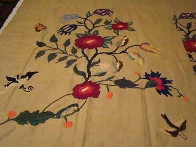 Rare Antique Crewel Hand Work 2 Panels Curtains Window Coverings