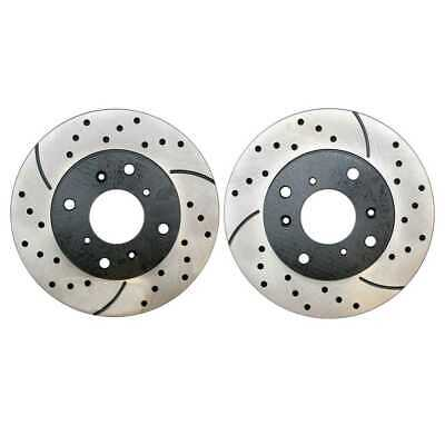 Front Drilled Slotted Brake Rotors Pair (2) For 98-00 01 2002 Honda Accord 96265