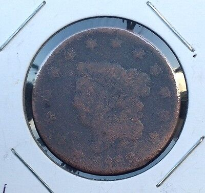 1822 1C Coronet Head LARGE CENT copper coin