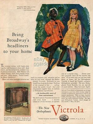 1927 Duncan Sisters Black Face Broadway RCA Victor Talking Machine Phonograph Ad