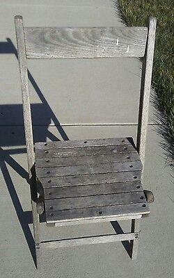 Vintage Heavy Sturdy Antique Wooden Folding Church Chair Slat Wood