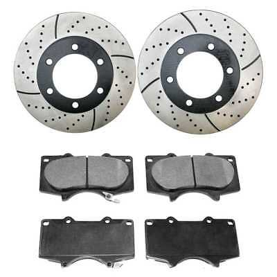 New Front Drilled Slotted Brake Rotors & Ceramic Pads Fits Toyota Tundra/Sequoia