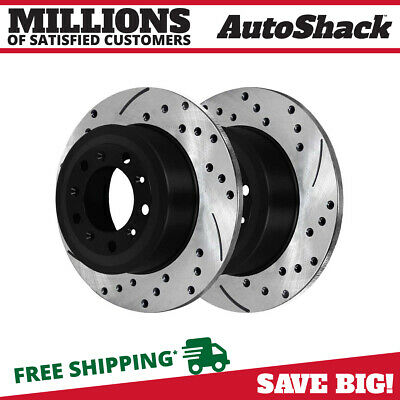 Rear Pair (2) Drilled Slotted Brake Rotors 5 Stud Fits 11-18 2019 Ford Explorer