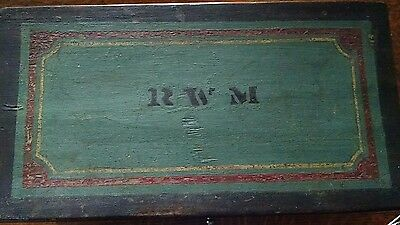 Original Period Initialed Miniature Paint Decorated Blanket Chest Early American