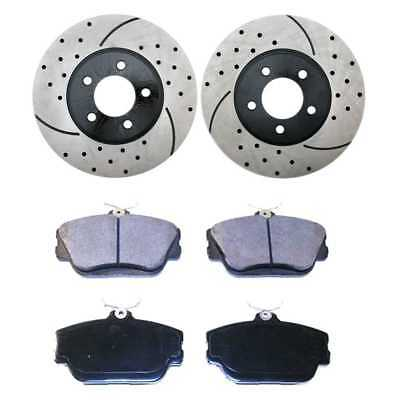 Performance Drilled And Slotted Rotors Pair + Semi Metallic Brake Pads Set