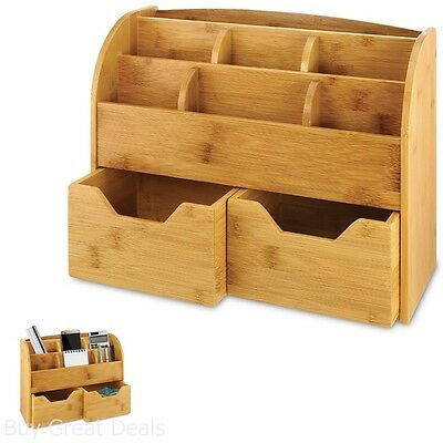 Bamboo Desk Drawer Organizers Storage Compartments Home Office Supplies Gift New