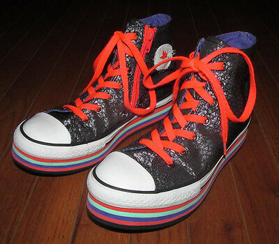 Junior Boys Girls Size 3 Converse All Star Fashion Sneakers Shoes Black Silver