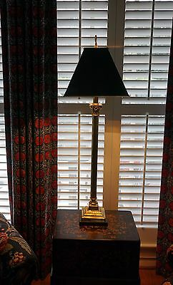 """A Brass Pedestal Table Lamp with Black Metal Shade, 36"""""""