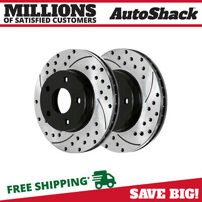 Rear Pair (2) Drilled Slotted Brake Rotors 5 Stud Fits 05-2013 2014 Ford Mustang