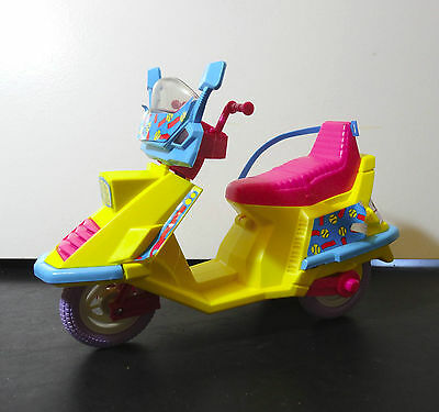 Barbie doll All Star 80s Moped Scooter - Yellow & Pink plastic