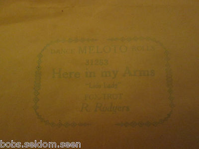 Meloto Dance Roll For Player Piano Here In My Arms 31253