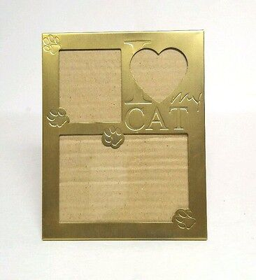 I Love My Cat Matte Brass Photo Frame Collage Picture Table Paw Print Lovers
