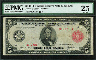 1914 $5 Federal Reserve Note Cleveland FR-835a - RED SEAL - PMG 25 - 50 Known
