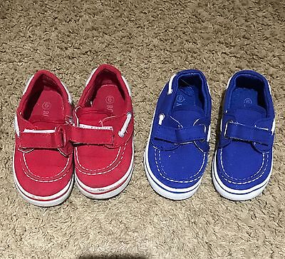 Lot 2 Boat Shoes Boy Baby Toddler Size 6 Blue Red