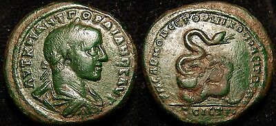 MRTWN Gordian III (238-244) AE27 Nicopolis  Coiled Serpent Lovely Patina!
