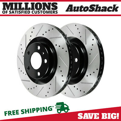 Front Pair (2) of Drilled & Slotted Performance Brake Rotors For Ford Lincoln