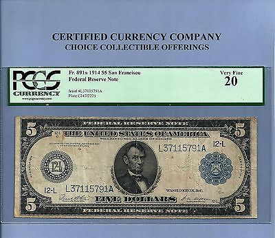 1914 $ 5 San Francisco FR 891-A Federal Reserve Note PCGS Very Fine 20 Sharp
